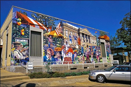 Murals add to the cultural experience of Magnolia. Many downtown buildings display beautiful murals that were recently refinished.