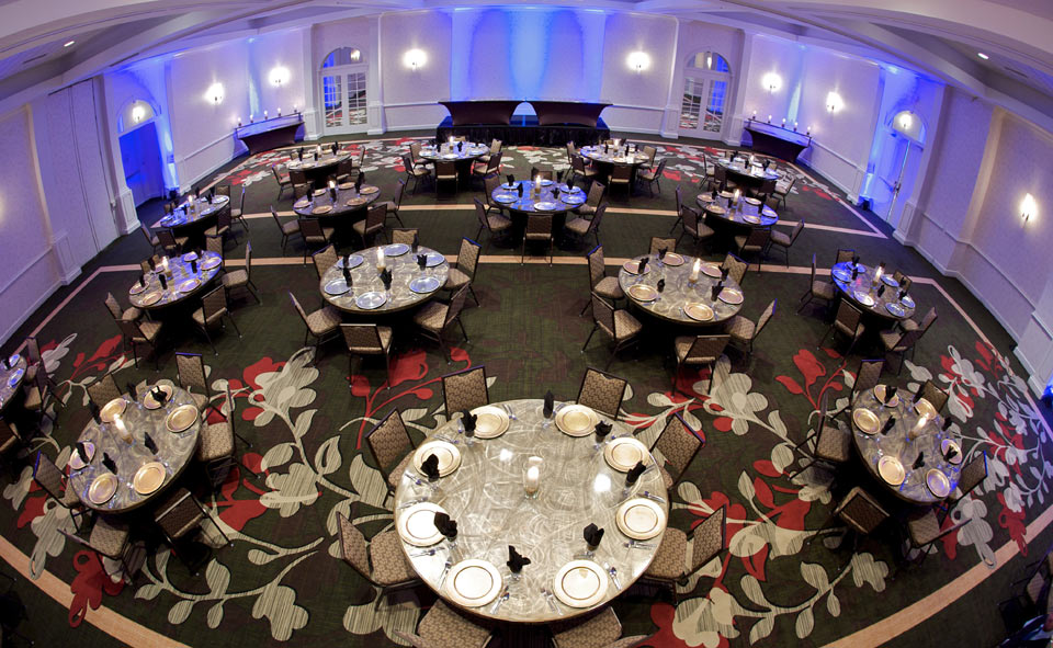 The tables in this photo were manufactured by Southern Aluminum in Magnolia. Their linenless tables are shipped all over the world and are seen here at the Hilton in Minneapolis.